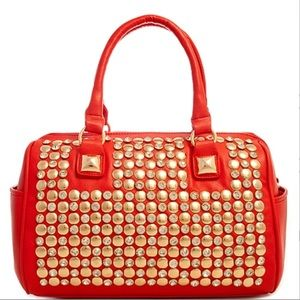 Large Red Studded Handbag